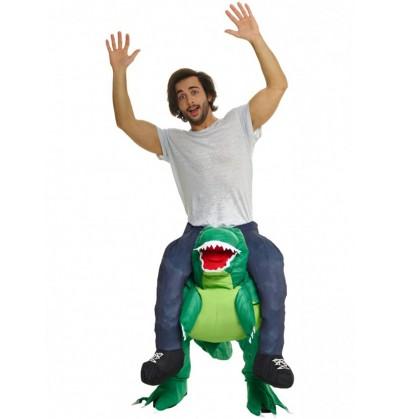 Disfraz de cómo lo alucino a hombros de un dino Ride On