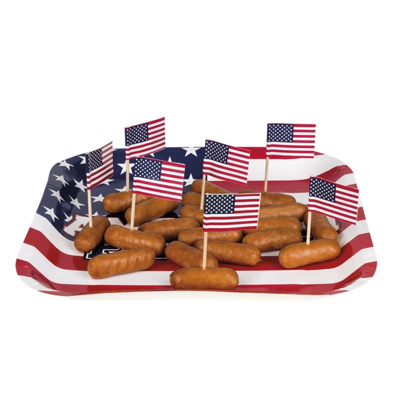set de 24 palillos bandera americana