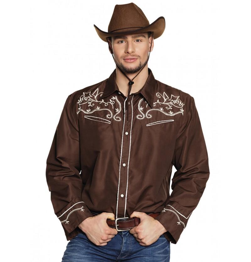 camisa de vaquero marrn para adulto