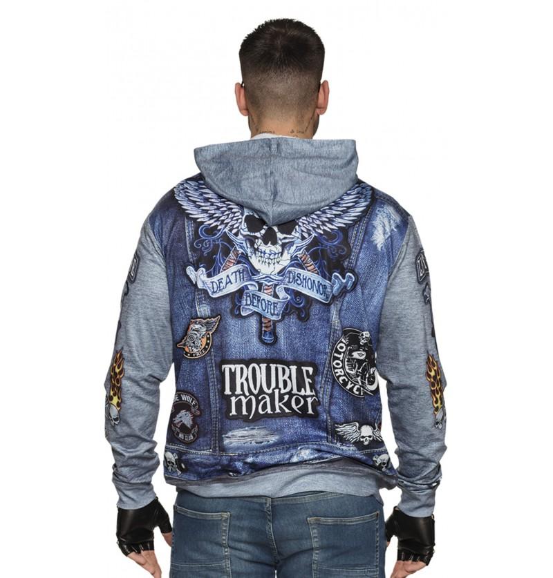 chaqueta de motociclista azul para hombre