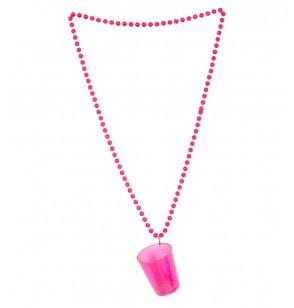 Collar con vaso de chupito rosa flúor
