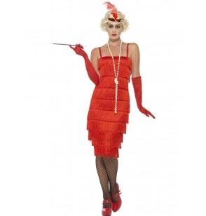 Disfraz de señorita de rojo años 20 para mujer