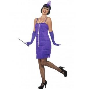 Disfraz de dama de violeta años 20 para mujer