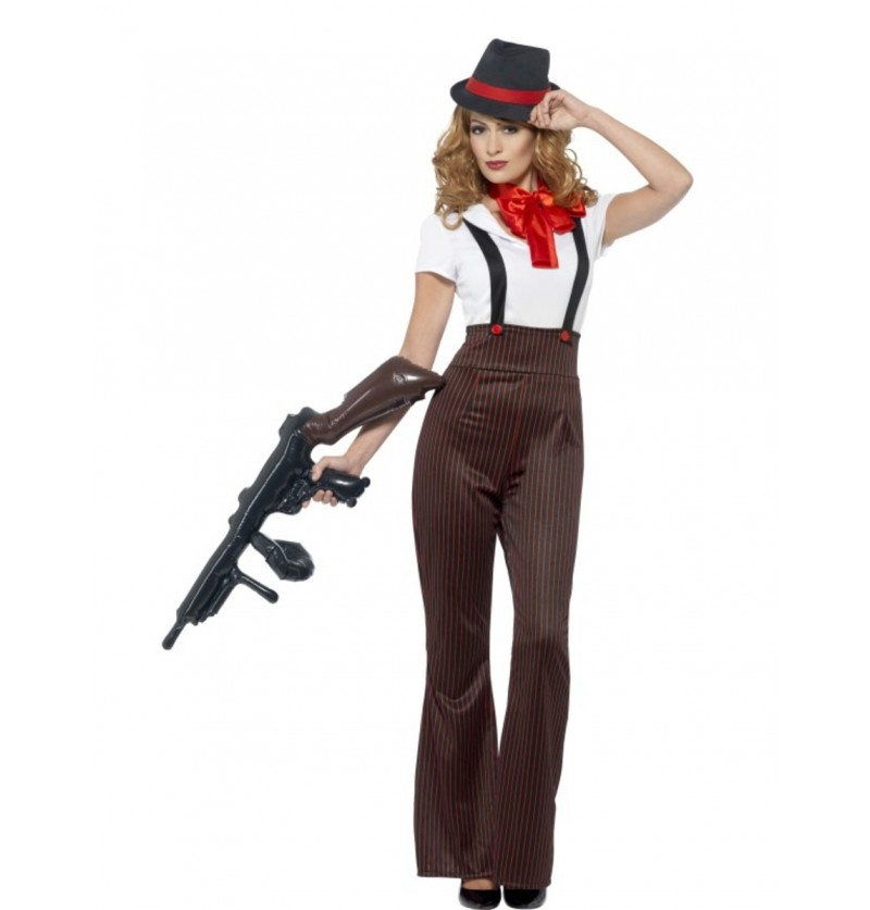 Disfraz de gángster glamurosa para mujer