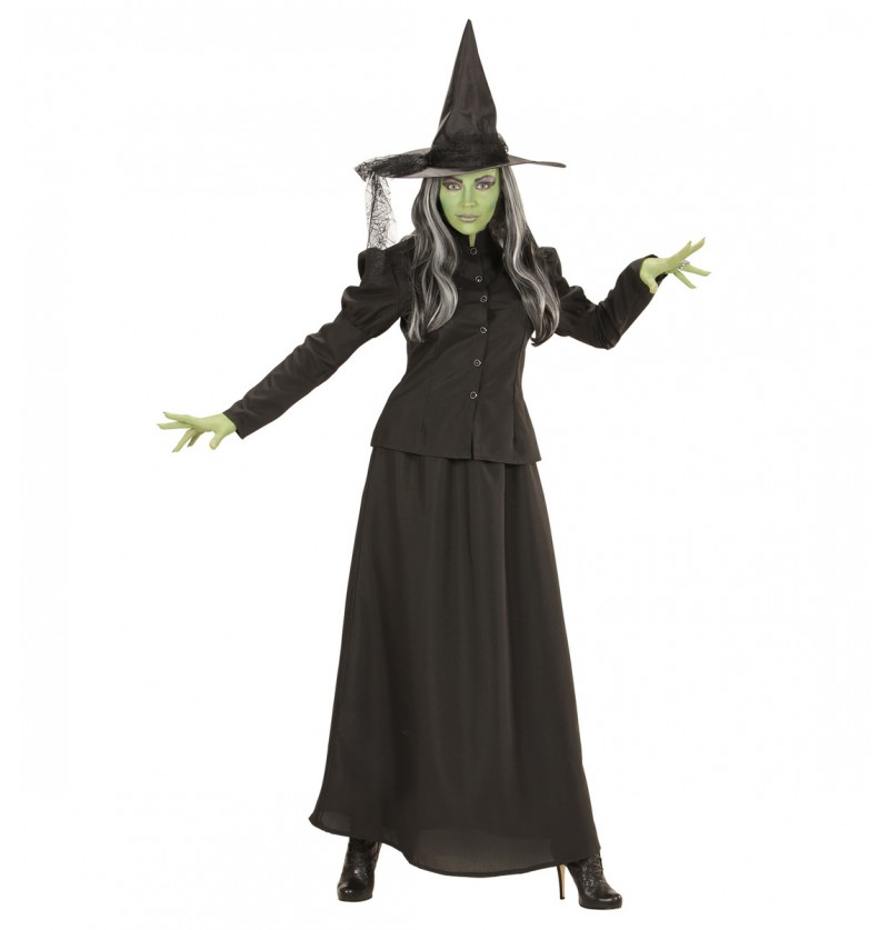 Disfraz de bruja verde malvada talla grande para mujer