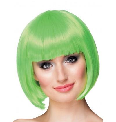 Peluca corta verde neón para mujer