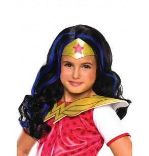 Peluca de Wonder Woman classic para niña
