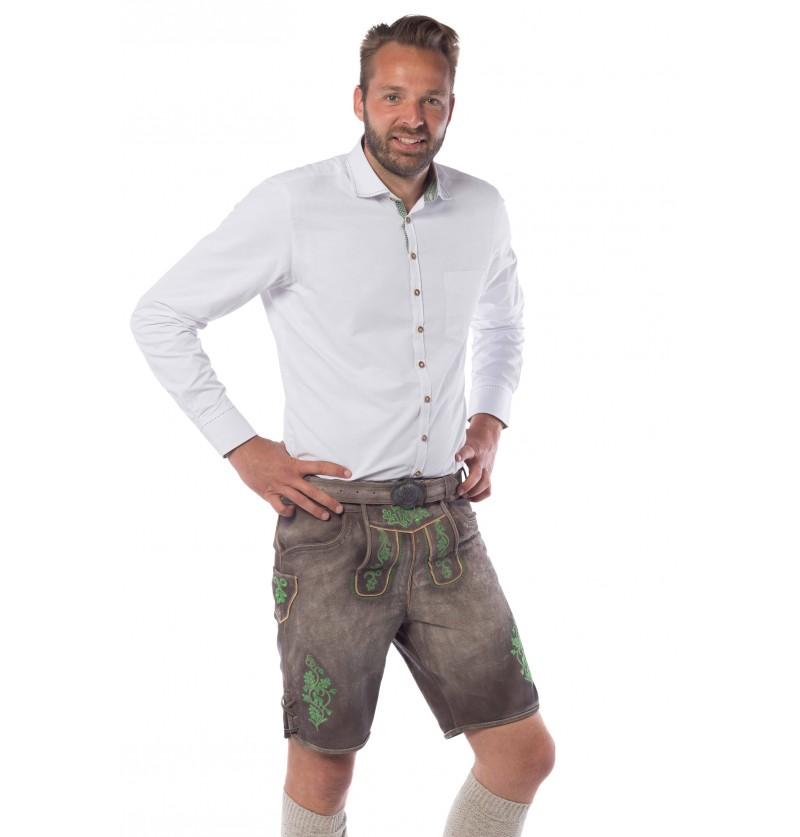 lederhose marrn y verde deluxe para hombre