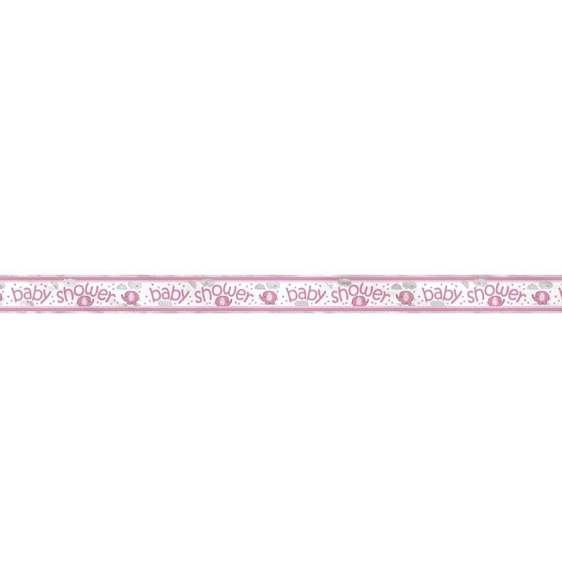 pancarta baby shower rosa umbrellaphants pink
