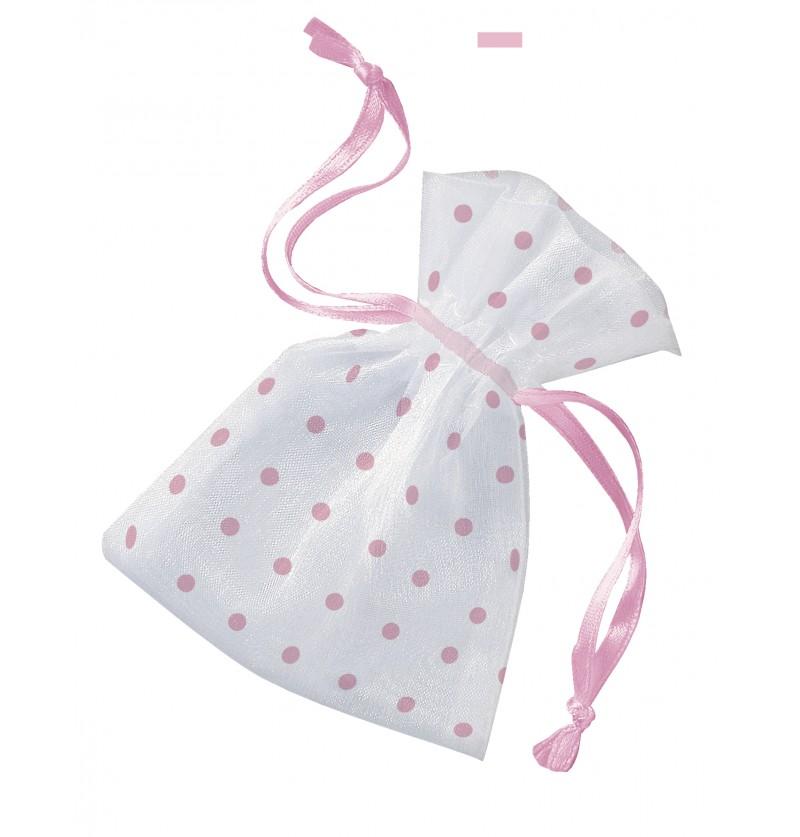 bolsa blanca con topos rosas baby shower