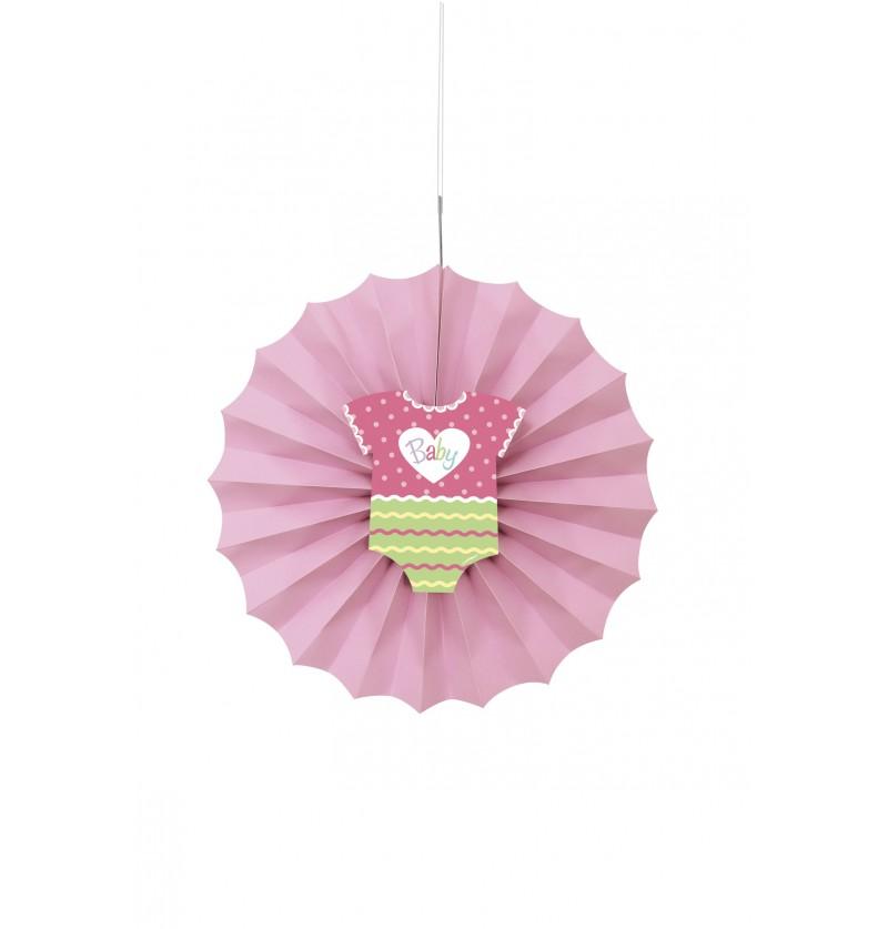 abanico decorativo rosa baby shower