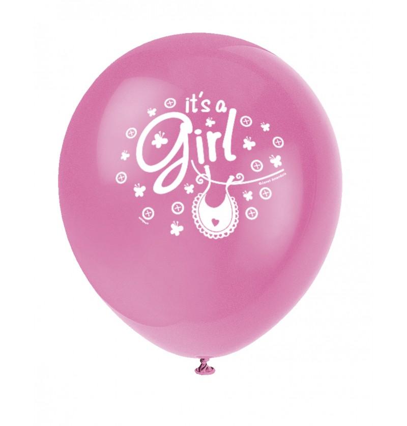 set de 8 globos rosas it s a girl clothesline baby shower