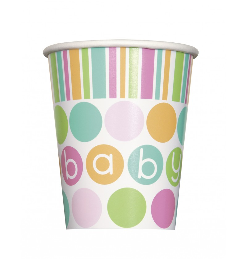 set de 8 vasos pastel baby shower