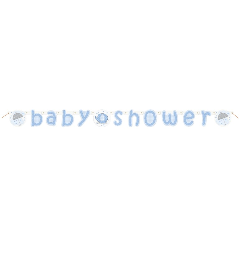 guirnalda baby shower azul umbrellaphants blue