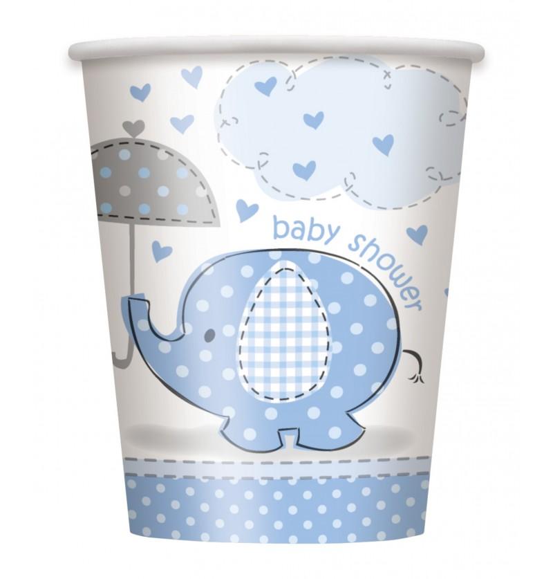 set de 8 vasos medianos azules umbrellaphants blue