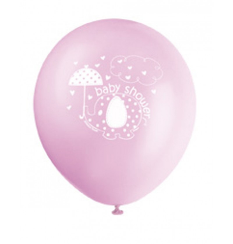 set de 8 globos rosas umbrellaphants pink