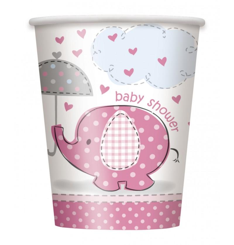 set de 8 vasos medianos rosas umbrellaphants pink