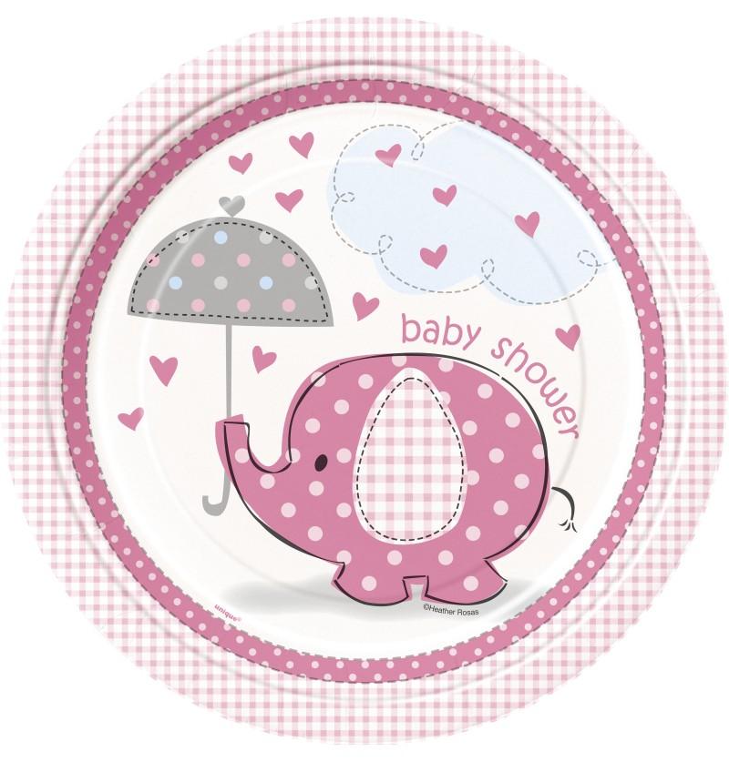 set de 8 platos medianos rosas umbrellaphants pink