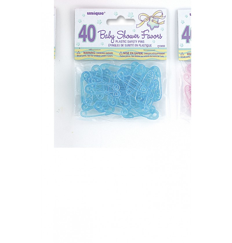 set de 40 imperdibles de bebe decorativos color azul