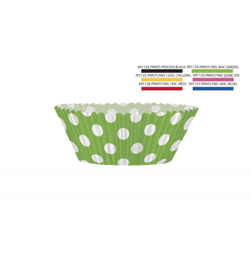 set de 24 kit bases de papel para cupcake de color verde lima y topos blancos