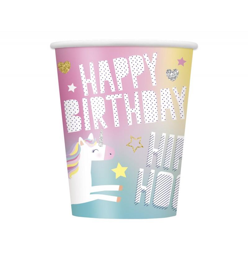 set de 8 vasos grandes de unicornio feliz unicorn