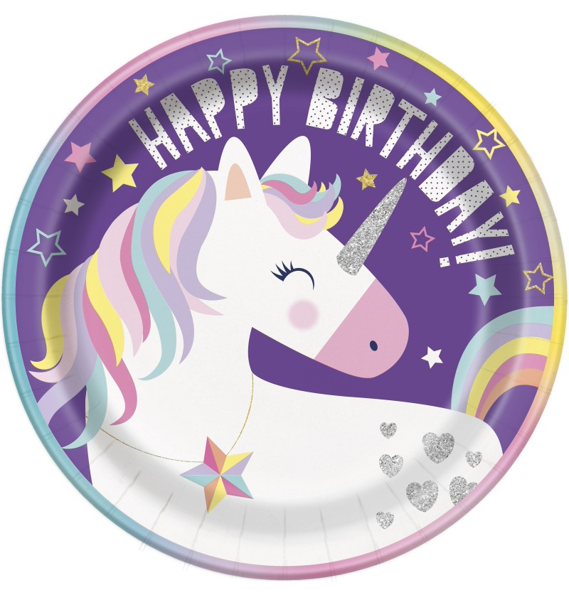 set de 8 platos happy birthday unicornio