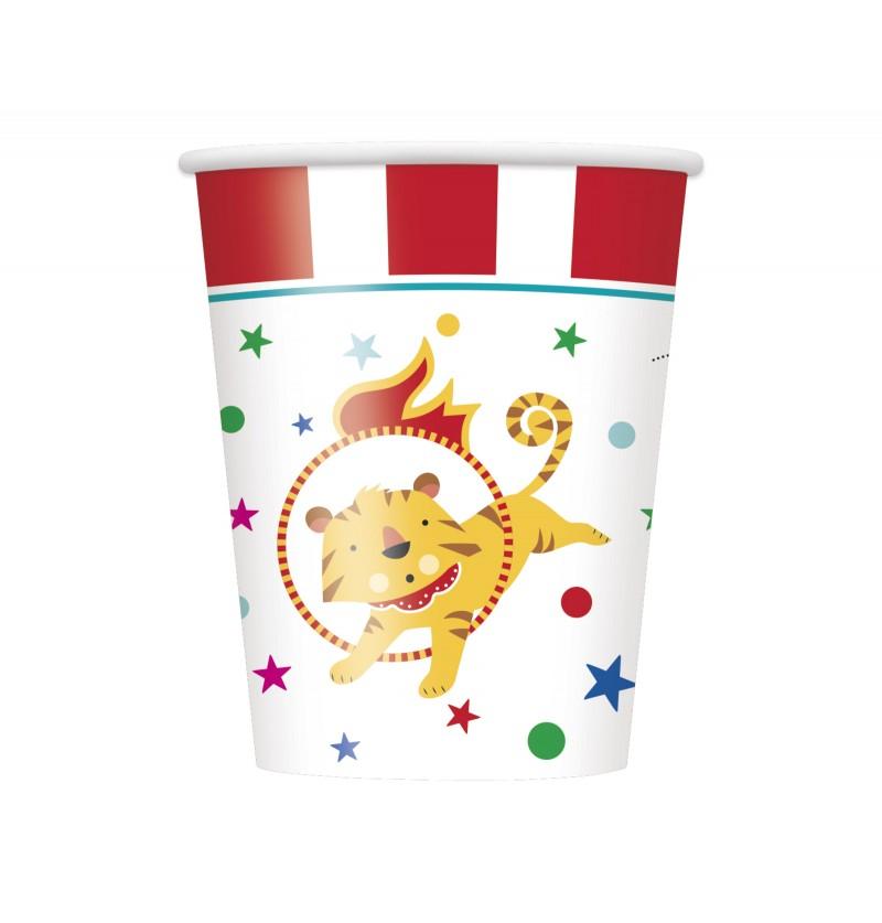 set de 8 vasos circus carnival