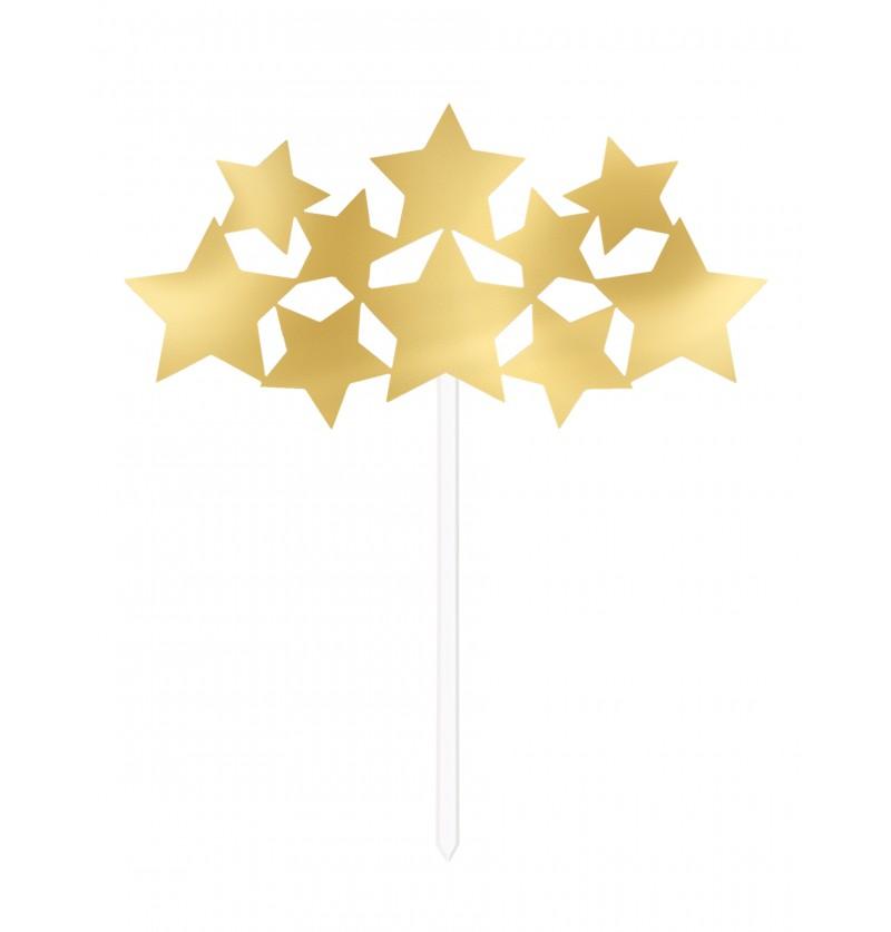 decoracin de estrellas doradas para tarta