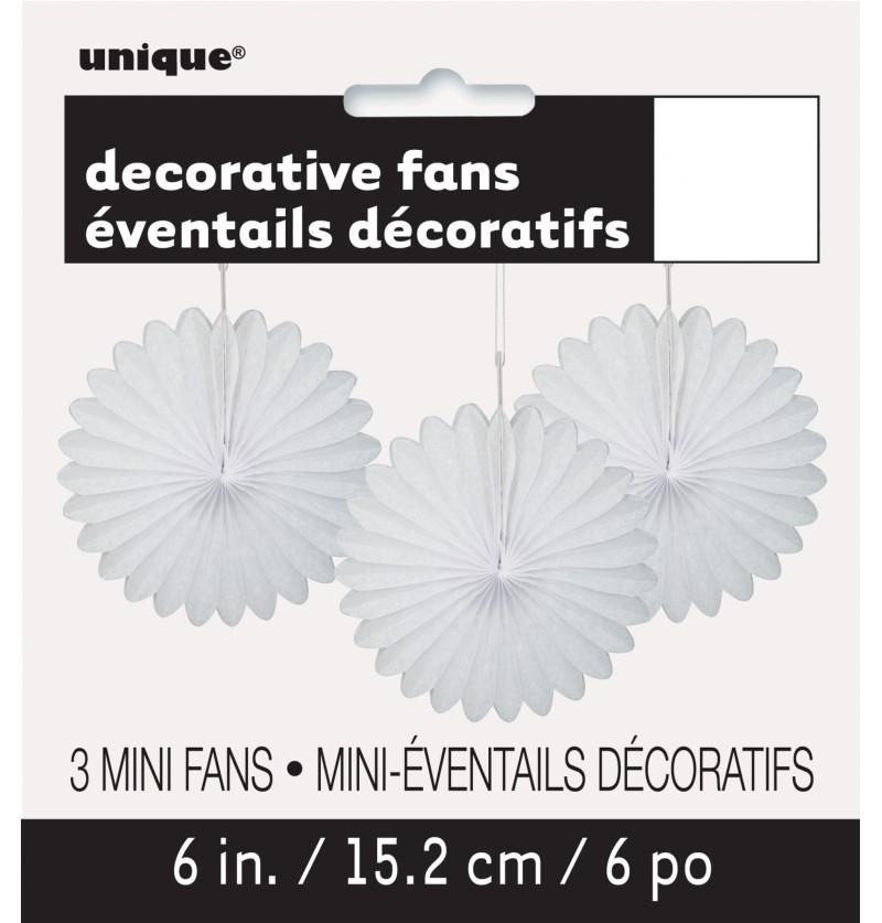 set de 3 abanicos decorativos blanco lnea colores bsicos
