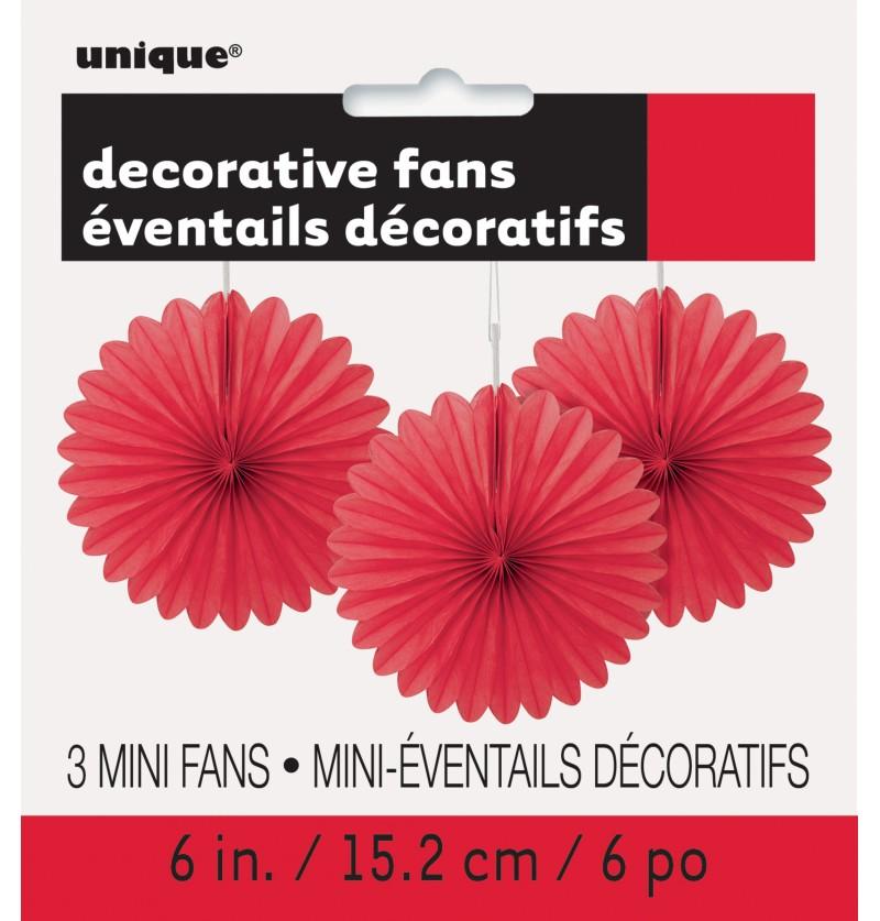 set de 3 abanicos decorativos rojo lnea colores bsicos