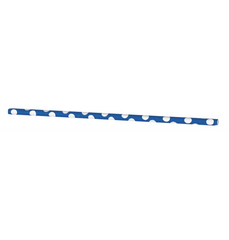 set de 10 pajitas de topos azul oscuro y blanco
