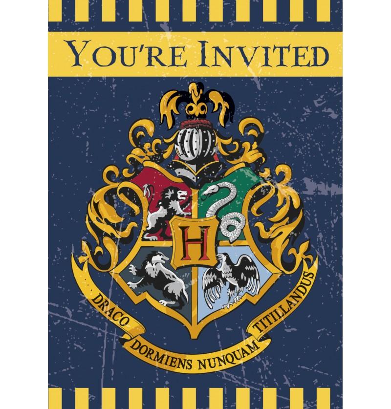 set de 8 invitaciones casas de hogwarts harry potter