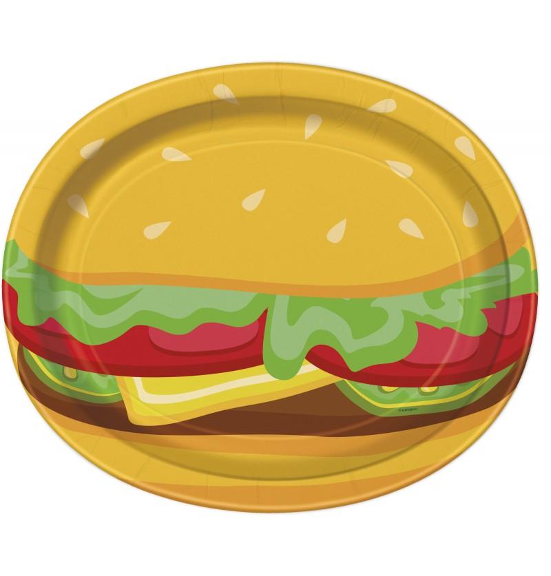 set de 8 bandejas ovaladas de hamburguesa