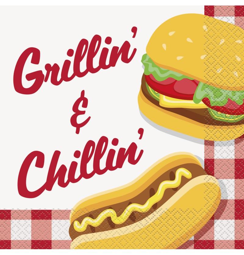 set de 16 servilletas grandes bbq grillin chillin