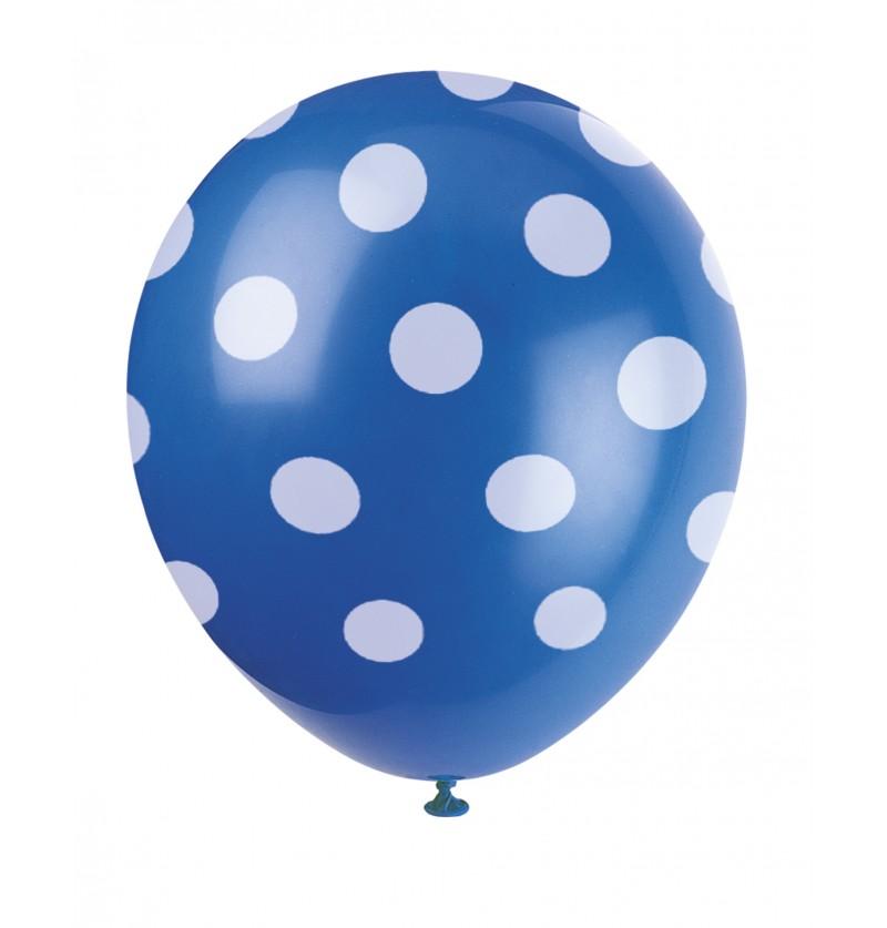 set de 6 globos azul oscuro con topos blancos