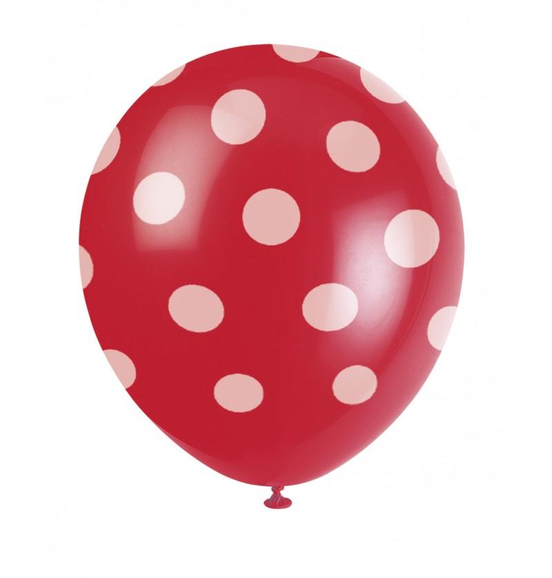 set de 6 globos rojos con topos blancos