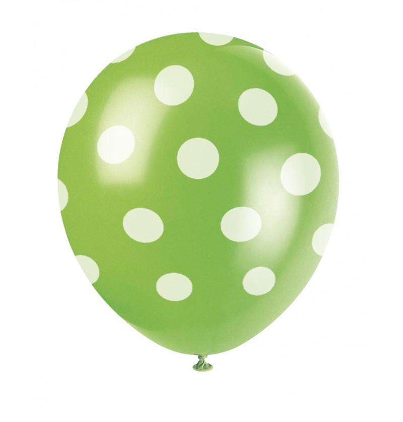 set de 6 globos verde lima con topos blancos