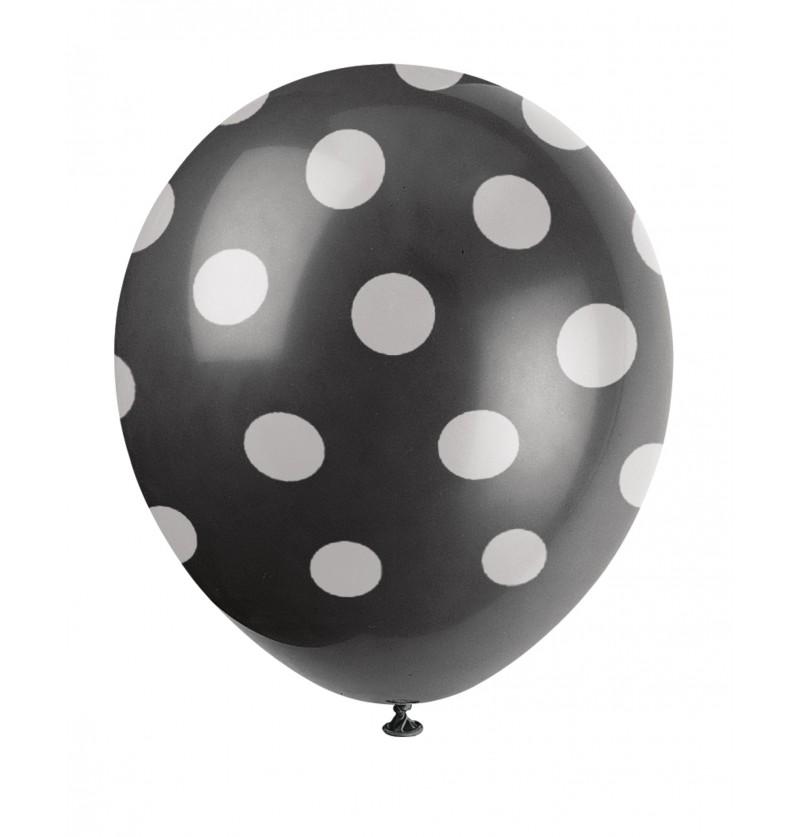 set de 6 globos negros con topos blancos
