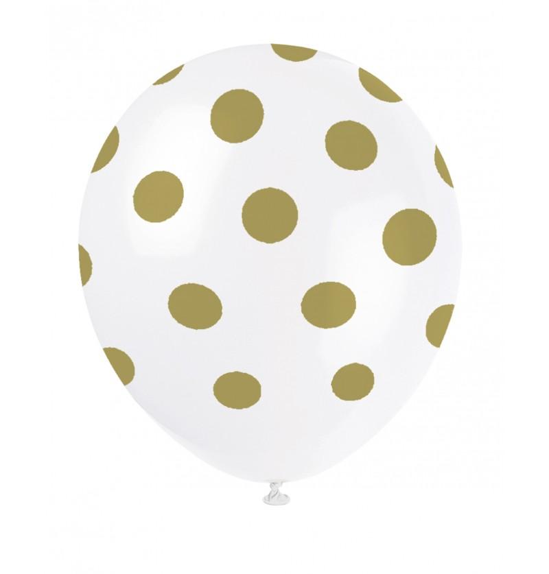 set de 6 globos blancos con topos dorados