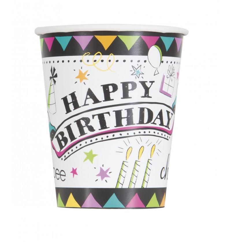 set de 8 vasos doodle birthday