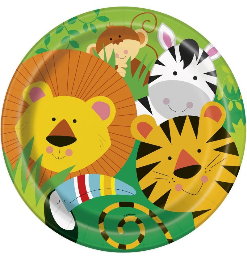 set de 8 platos animal jungle