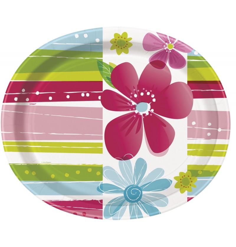 set de 8 bandejas ovaladas striped spring flower