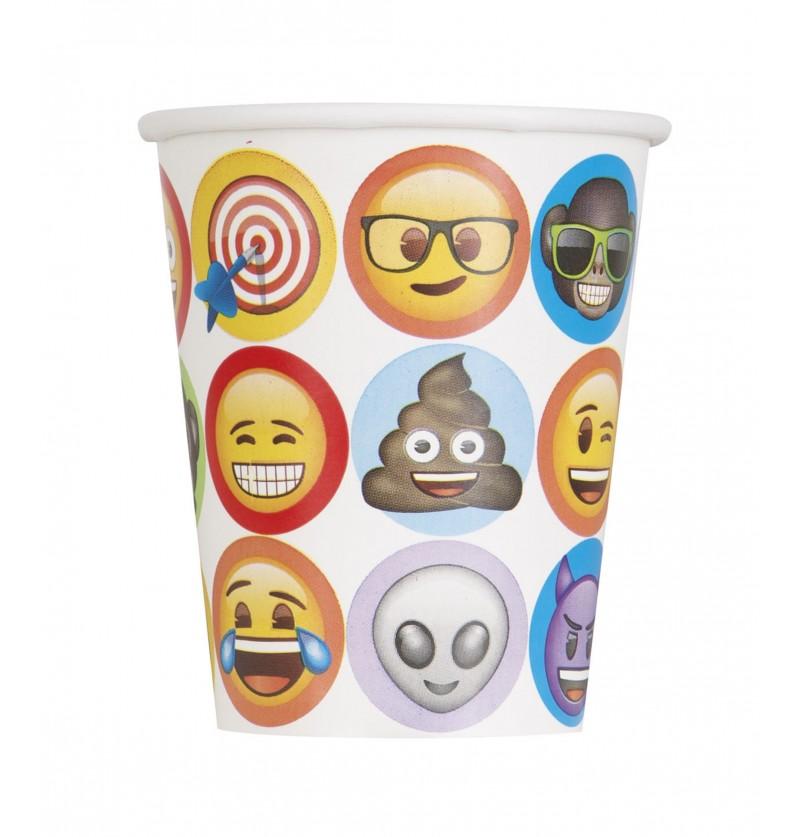 set de 8 vasos de emoticonos emoji