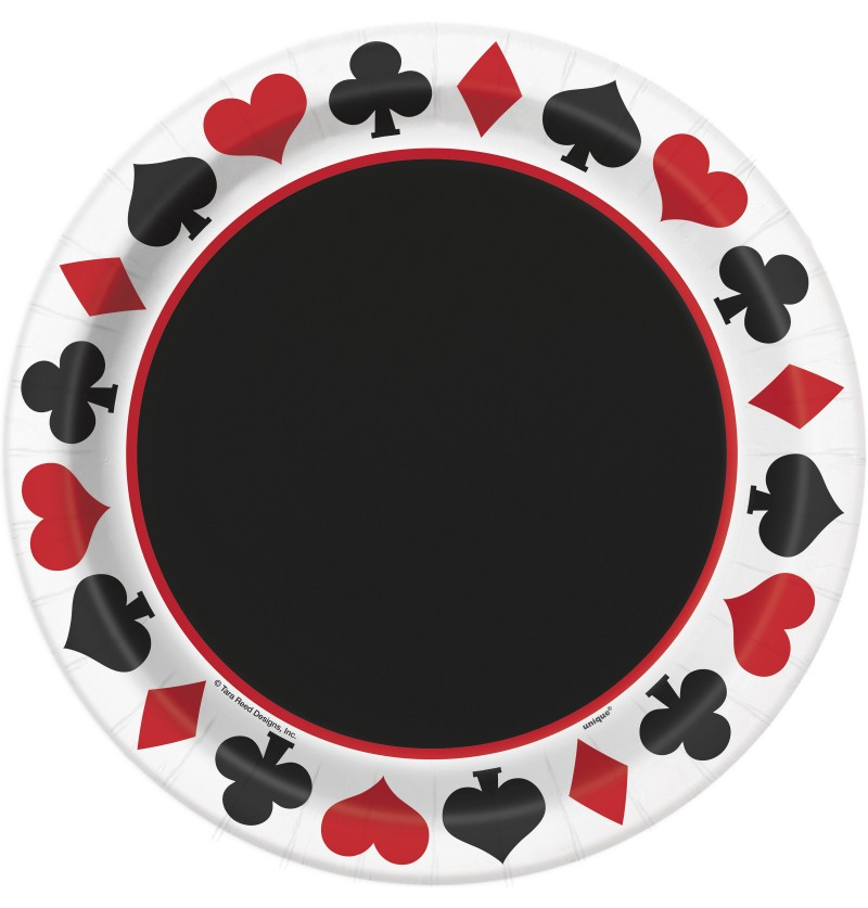 set de 8 platos casino party