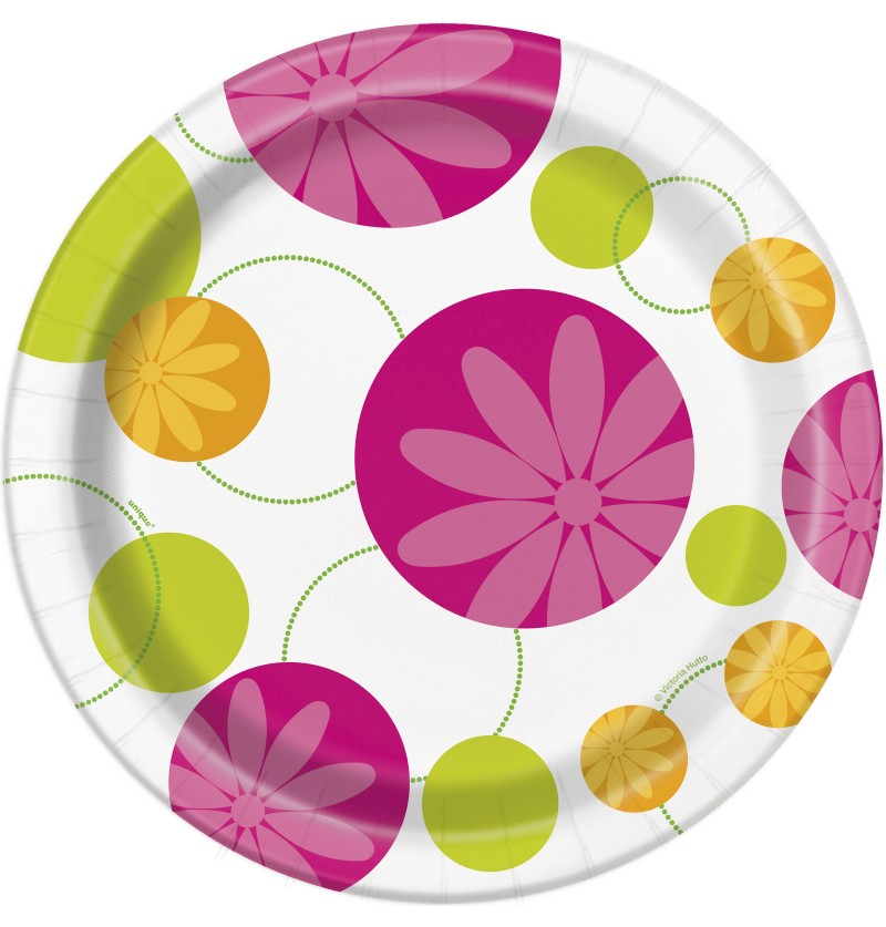 set de 8 platos flores de verano