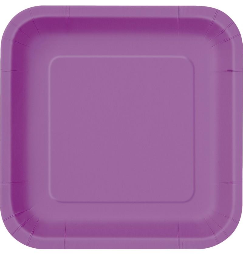 set de 14 platos cuadrados morados lnea colores bsicos