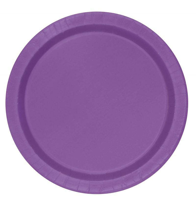 set de 8 platos morado lnea colores bsicos
