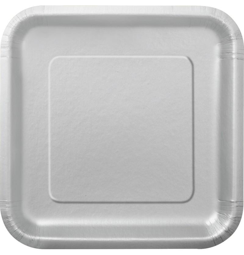 set de 16 platos cuadrados plateados lnea colores bsicos