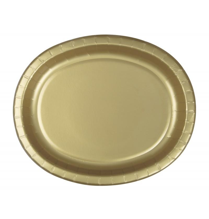 set de 8 bandejas ovaladas doradas lnea colores bsicos