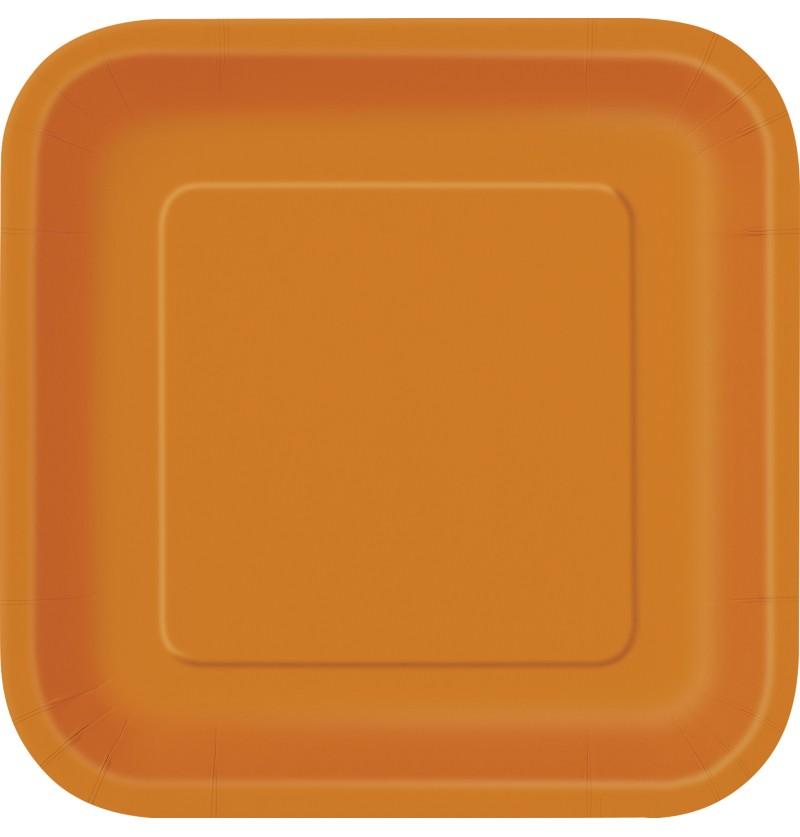 set de 14 platos cuadrados grandes naranjas lnea colores bsicos